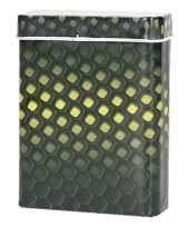 Goedkope metalen sigarettenblikje honingraad zwart geel