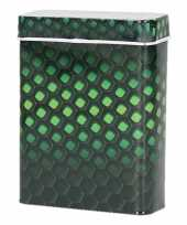 Goedkope metalen sigarettenblikje honingraat zwart groen