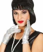 Goedkope metallic zilveren verkleed handschoenen kort