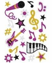 Goedkope muziek glitter stickers vel