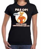 Goedkope nederland supporter t-shirt leeuwinnen zijn los zwart dames