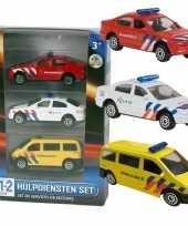 Goedkope nederlandse politie brandweer ambulance speelgoedauto set