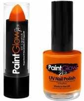 Goedkope neon oranje uv lippenstift lipstick nagellak schmink set