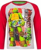 Goedkope ninja turtles t shirt grijs rood jongens