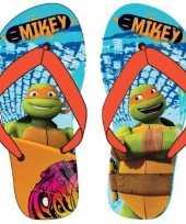 Goedkope ninja turtles teenslippers lichtblauw oranje jongens