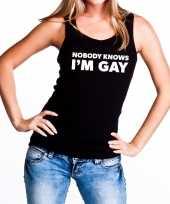 Goedkope nobody knows i am gay tanktop mouwloos shirt zwart dames