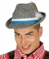 Goedkope oktoberfest grijze tiroler hoed veer volwassenen