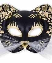 Goedkope oogmasker zwarte kat goud