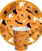 Goedkope oranje halloween tafeldecoratie borden bekers servetten