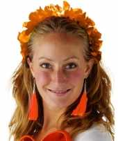 Goedkope oranje hawaiikrans verkleed tiara hoofdband dames