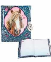 Goedkope paarden dagboek blauw slotje