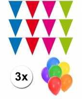 Goedkope pakket vlaggenlijn xl meerkleurig incl gratis ballonnen