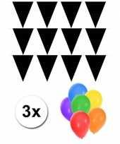 Goedkope pakket vlaggenlijn xl zwart incl gratis ballonnen