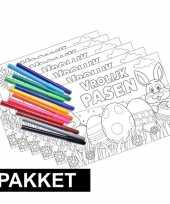 Goedkope pasen kleurplaten placemats inclusief stiften
