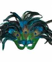 Goedkope pauwenveren masker