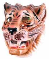 Goedkope plastic bruine tijger masker volwassenen