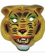 Goedkope plastic gele tijger masker volwassenen
