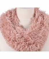 Goedkope pluche col sjaal roze volwassenen
