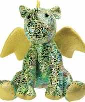 Goedkope pluche groene draak draken knuffel glitters speelgoed