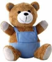 Goedkope pluche teddybeer blauwe outfit