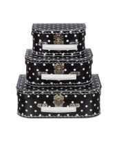 Goedkope poppen koffertje zwart witte stippen