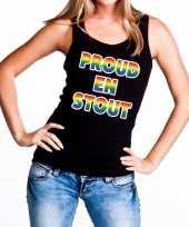 Goedkope proud stout gaypride tanktop mouwloos shirt zwart dames