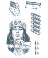 Goedkope realistische crimineel tattoos vel