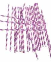 Goedkope rietjes lila paars gestreept stuks