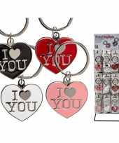 Goedkope rode hartjes sleutelhanger i love you