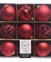 Goedkope rode kerstversiering kerstballen set kunststof stuks