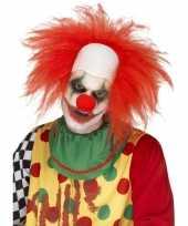 Goedkope rode korte clownspruik volwassenen