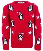 Goedkope rode meisjes kersttrui pinguins
