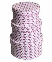 Goedkope rond kado doosje hartjes paars 10069044