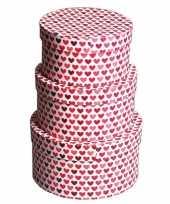 Goedkope rond kado doosje hartjes rood 10069047