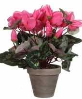 Goedkope roze cyclaam kunstplant grijze pot
