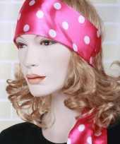 Goedkope roze hoofd sjaal wit bollenmotief