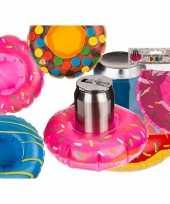 Goedkope roze opblaasbare donut blikjes houder