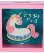 Goedkope roze vakantie fonds spaarpot eenhoorn
