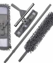 Goedkope schoonmaak huishoud set grijs