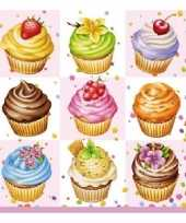 Goedkope servetten cupcakes vierkant roze stuks