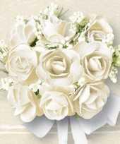 Goedkope servetten witte rozen stuks 10046762