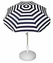 Goedkope set blauw wit gestreepte parasol parasolvoet wit