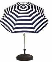 Goedkope set blauw wit gestreepte parasol parasolvoet zwart