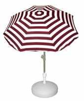 Goedkope set rood wit gestreepte parasol parasolvoet wit