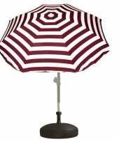 Goedkope set rood wit gestreepte parasol parasolvoet zwart