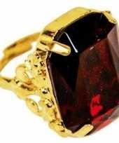 Goedkope sinterklaas verkleed ring goud rood rechthoekig heren