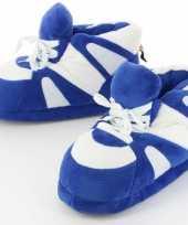 Goedkope sneaker pantoffels sloffen volwassenen blauw wit