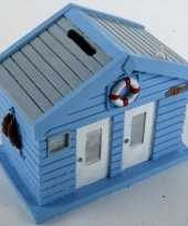 Goedkope spaarpot strandhuis blauw