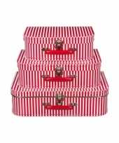 Goedkope speelgoedkoffertje rood witte strepen 10090148