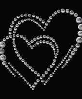 Goedkope stickers strass dubbel hart